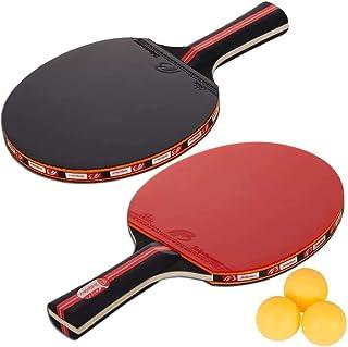 Amaza Set da Ping Pong Professionale con Borsa per Il Trasporto Portatile - 2 Racchette in Gomma Premium a Doppia Faccia +...