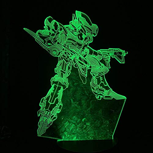 jiwenhua Luz nocturna 3D Serie Juego Led Colorido Táctil Lámpara de mesa, 110, Control Remoto Táctil 16 Colores