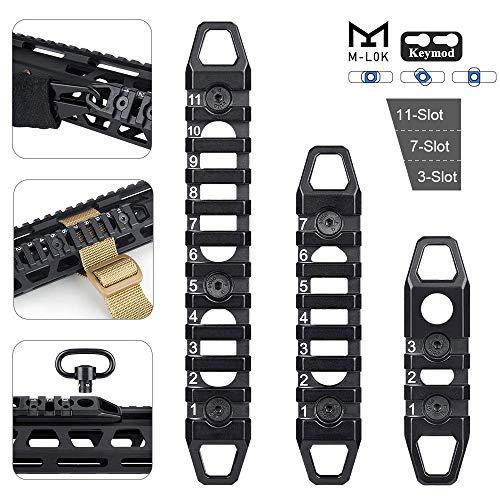 Opaltool 3 Stück Aluminium kompatible M-Lok/Keymod Picatinny-Schiene 3-Fach 7-Fach 11-Fach M-LOK/Keymod Picatinny-Schienenzubehör für das M-LOK/Keymod-System