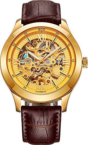 YXZQ Men 'S Mechanische Uhr Hohl Automatische wasserdichte Uhr Kristallglas Edelstahl Band, Gold, A