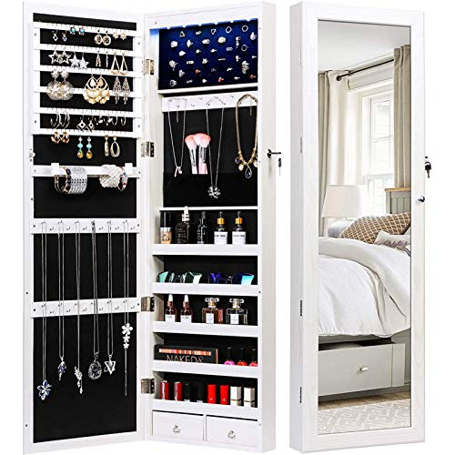 armoire organizers TWING Jewelry Armoire Jewelry Organizer Wall Mounted Lockable 6 LEDs Wall Mounted Jewelry Armoire With Mirror 3 Drawers Door Large Jewelry Armoire Cabinet (White)