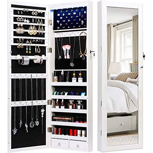 TWING Gabinete organizador de joyas con 6 luces led, con cerradura, montaje en puerta, con espejo, 2 cajones, color blanco, 119 cm de alto x 37 cm de ancho x 9,4 cm de profundidad.