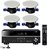 Yamaha 5.1-Channel Wireless Bluetooth 4K A/V Home Theater Receiver + Yamaha Easy-to-Install Natural Sound Moisture Resistant 6.5' High Performance in-Ceiling Speakers (Set of 4)