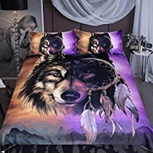 Sleepwish Wolf Dream Catcher Bedding, Tribal Wolf Midnight Mountains Print, Inspired Gold and Purple Duvet Cover, 3 Piece (Full)