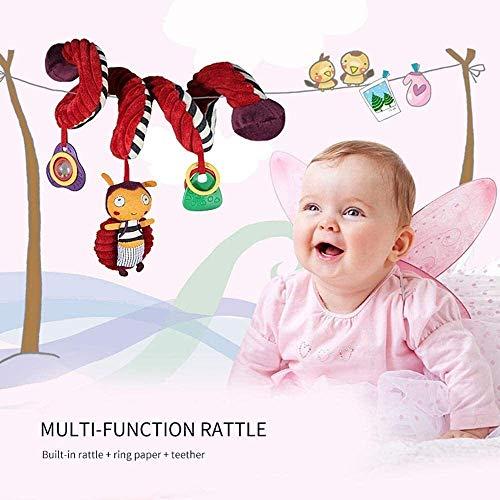 SXXYTCWL Cochecito de bebé de Juguete, Juguetes Actividad Espiral Alrededor del Pesebre del Carril de Asiento Linda Abeja Terciopelo Tintineo Cochecito de Juguete, 100% Seguro for el bebé jianyou