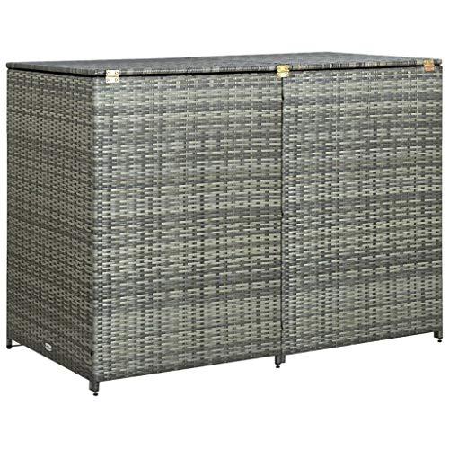 vidaXL Mülltonnenbox für 2 Tonnen Poly Rattan Anthrazit 148×77×111 cm