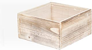 Planter Box, Rustic Barn Wood, Plastic Liner, Square, 7 Inch, Woodland Wedding Decor, Country Chic Centerpiece, (White), (2 Pack)