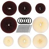 8pcs Hair Donut Bun Maker, FANDAMEI Hair Bun Maker Set with 4pcs Dark Brown &4pcs Beige Donut Bun Makers (2 extra-large, 2 large, 2 medium and 2 small), 5 pieces Hair Elastic Bands,20 pieces Hair Pins