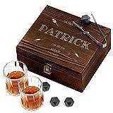 Murrano Whisky Steine Set - in Holzbox mit Gravur - 8 Eiswürfel + 2 Whisky Gläser - wiederverwendbar - aus Granit - Geschenk für Männer - Jäger edler Trünke