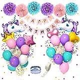 Unicorn Birthday Decorations for Girls, 27.6'' Big Foil Unicorn Balloons 18'' 12'' Confetti Purple Aqua Blue Pink Balloons with Happy Birthday Banner Paper Pom Poms for Unicorn Birthday Party Supplies