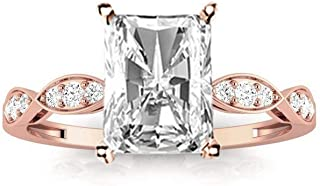 1.15 Ctw Radiant Cut Petite Curving 14K White Gold Diamond Engagement Ring (H-I Color SI2-I1 Clarity 1 Ct Center)