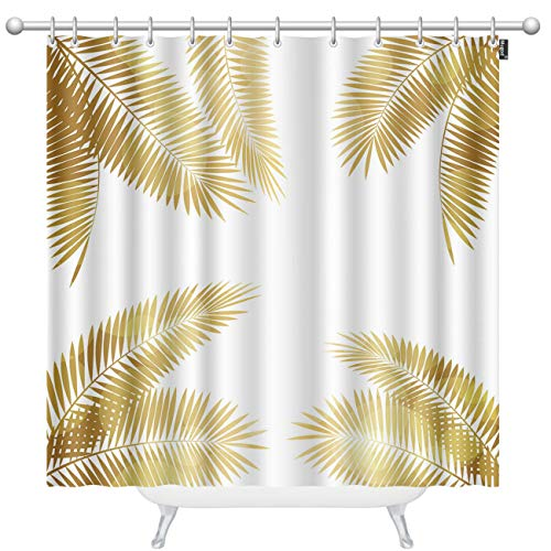 Mugod Palm Leaf Shower Curtains Gold Palm Leaf on White Illustration Decorative Bathroom Waterproof Fabric Shower Curtain with 12 Hooks 60 x 72 Inches