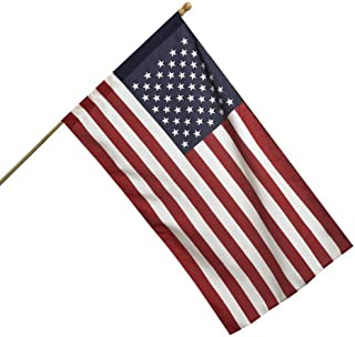 Valley Forge American Flag Kit 2.5` x 4` Polycotton SENTINEL 100% Made in U.S.A. 5` Wood Pole and Bracket Model AA99050,Re...