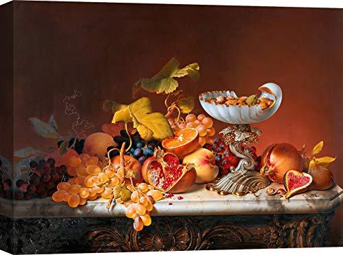 Art Print Cafe – Cuadro bodegón en Canvas - Johann Wilhelm Preyer, Bodegón con Fruta – Impresion sobre Lienzo 80x60 cm