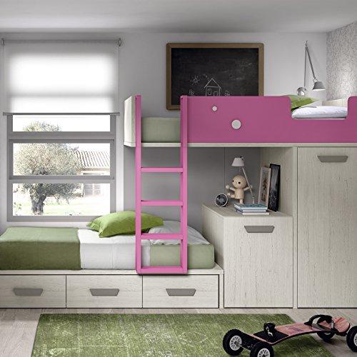 Meubles ROS Etagenbett mit Abnehmbarem Schreibtisch, Schrank und 2 Schubladen, 181,1x329x103,4 cm