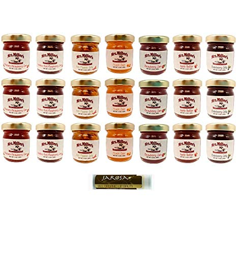 Mrs. Miller's Mini 7 FLAVOR Variety 1.5 oz. - Pack of 21 (3 of ea): Apple Butter, Elderberry Jelly, Hot Pepper Jelly, Peach Jam, Seedless Red Raspberry Jam, Strawberry Jam & Strawberry Rhubarb Jam
