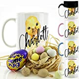 Personalised Mug with Mini Eggs and Cadbury's Chocolate Cream Egg Easter Egg, (11oz) Black Heat Activated Colour Changing Mug with Name on Yellow Duckling Print Design