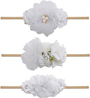 Baby Girl Floral Headband Nylon Flower Crown Elastic Hairband 3pcs Hair Accessories Gift for Girls