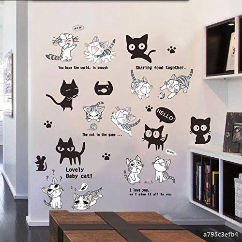 CHAYAJY, Cartoon Muursticker Kinderslaapkamer Decoratieve Muursticker voor Kinderkamer Decoratie Big Kleine Zwarte Kat + Kaas Kat