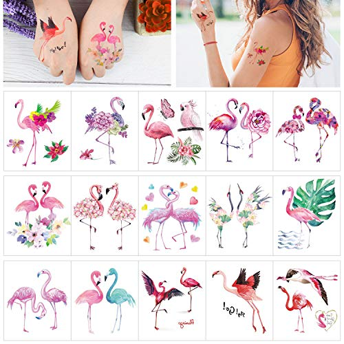 Keleily Tatuaggi Temporanei di Fenicotteri Tatuaggi Temporanei Adulti 15 Fogli adesivi tatuaggio per Donne, Ragazze, Braccia, Gambe, Schiena, Rosa