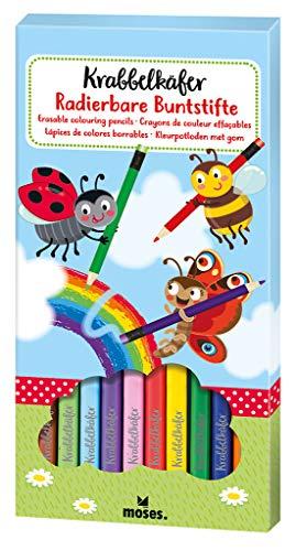 Moses. 16123 Krabbelkäfer Radierbare Buntstifte | 12 Stifte in leuchtenden Farben | Für Kinder, bunt
