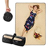 """CANDY CANE Picnic Blanket Foldable (78""""x56"""") Large Size, Perfect Outdoors, Camping and Sandproof Beach Blanket Stylish Straw Design Park mat, Comfy Carrying and Portable, Washing Machine (Black)"""