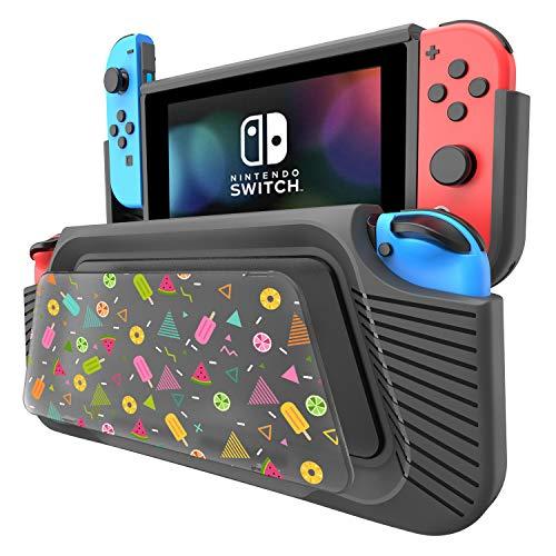 COODIO Custodia per Nintendo Switch, Hand Grip Deluxe Switch, Cover con Supporto / cinturino a mano / DIY pannello di pittura per Nintendo Switch, Nero