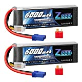 Zeee 3S Lipo Battery 11.1V 6000mAh 60C Soft Case Battery with EC5 and Deans T Plug for Helicopter, Plane, Quadcopter, RC Airplane, RC Car Truck Boat(2 Packs)