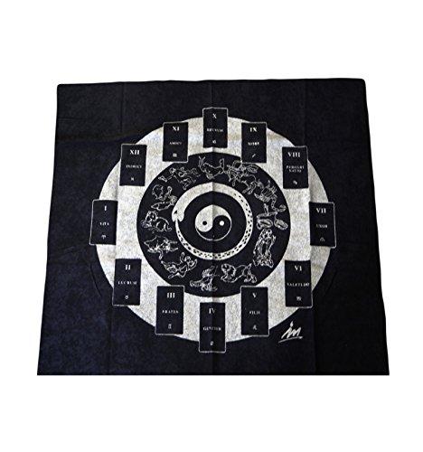 WLM Tapis de tirage de cartomancie Noir Yin & Yang