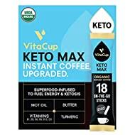 VitaCup Keto Max Organic Dark Roast Instant Coffee Packets with Butter, MCT Oil, Turmeric, B Vitamins, & D3 for Ketosis, Energy & Focus in single serve packs, 18 ct