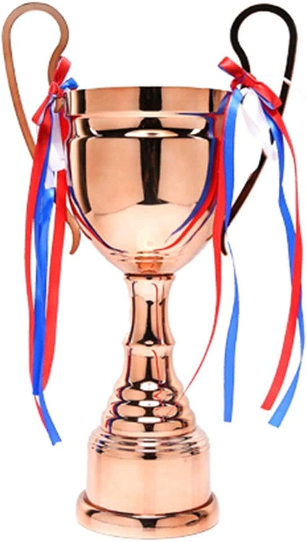 トロフィー 金属トロフィーチャンピオン大会トロフィーサッカーバスケットボールバドミントン学生子供大会賞 (Color : Brass, Size : 52*18cm)