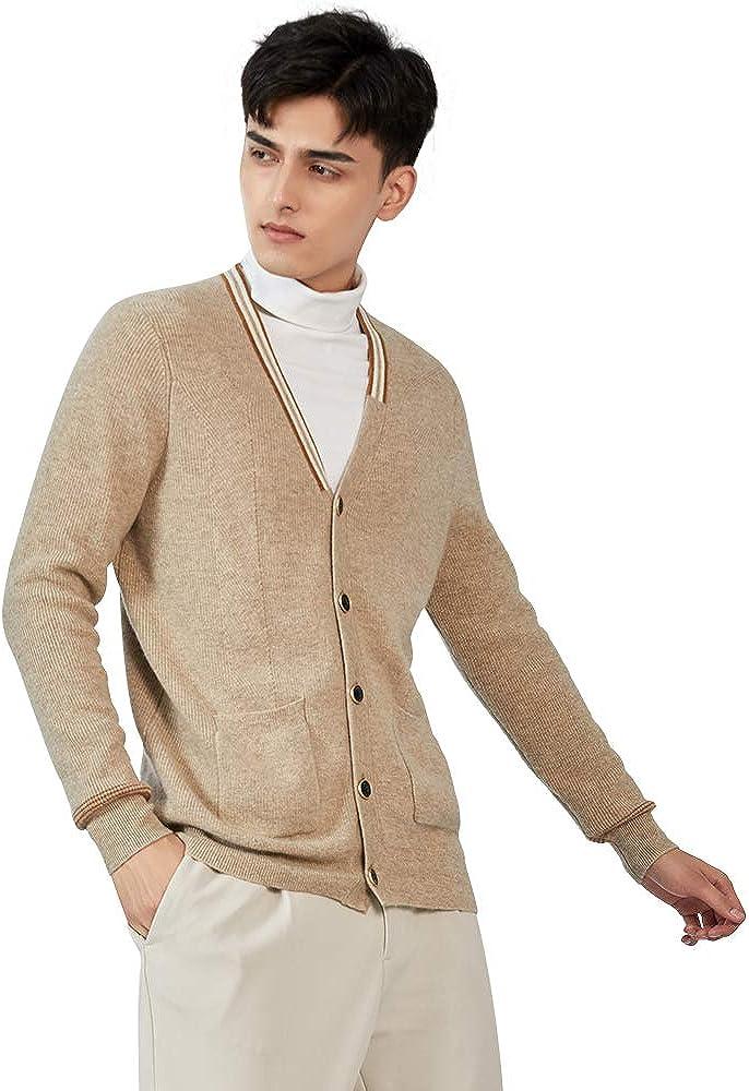 织礼 Zhili Men's 100% Cashmere V Neck Button Front Cardigan Sweater with Pockets
