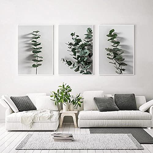 3 uds,carteles de eucalipto,pintura botánica en lienzo,pared de granja,dormitorio minimalista,escandinavo,sin marco,40x50cm/15.7*19.7inch