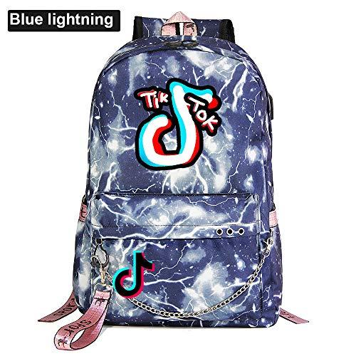 Teen School Backpack Fits 15 Inch' Laptop Tablet Computer USB Charging Port Camping Backpack 45cm*30cm*15cm Blue Lightning