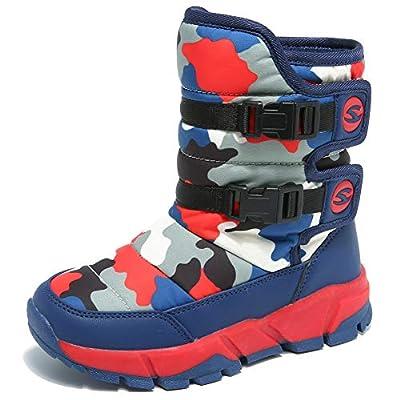 GUBARUN Boys Snow Boots Winter Waterproof Slip Resistant Cold Weather Shoes (Big Kid)-5.5M,Dark Blue/Red by