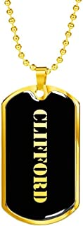 Clifford v2-18k Gold Finished Luxury Dog Tag Necklace Personalized Name Father's Day Birthday Gifts Jewelry