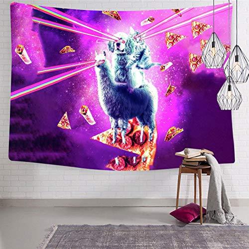 2183 Wandteppich mit Laser-Augen, Weltraum, Katze, Reiten, Hund, Wandteppich, Wandteppich, Wandteppich, für Bett, Zeichenraum, 130 x 140 cm