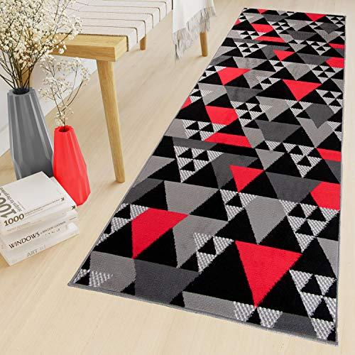 Tapiso Maya Teppich Läufer Meterware Kurzflor Flur Küche Brücke Wohnzimmer Modern Grau Rot Schwarz Geometrisch Dreieck ÖKOTEX 80 x 320 cm