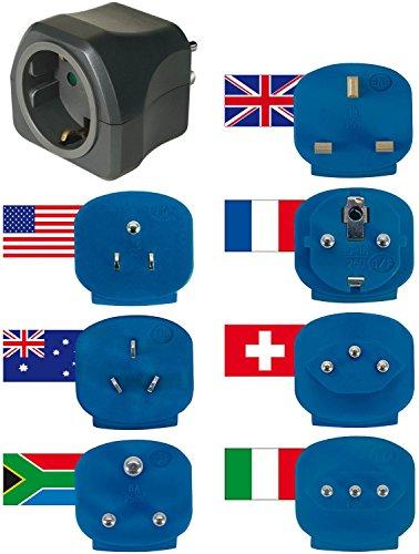 brennenstuhl Reisestecker-Set mit 7 Steckern für mehr als 150 Länder weltweit, universeller Netzadapter zum Anschluß elektrischer Geräte mit deutschem Stecksystem an Steckdosen im Ausland mit anderen Stecksystemen, mit Schutzkontaktsteckdose, max. Belastung 250 V ca. 16A (1, Adapterset für 150 Länder)