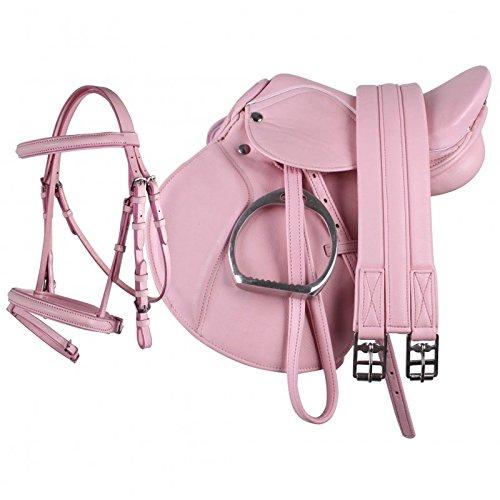 """QHP Pony Sattel-Set Leder Sattel 13\"""" Sattelgurt Steigbügel + kombinierte Trense (rosa)"""