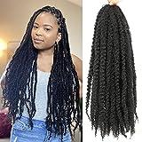 6 Packs Marley Twist Braiding Hair 24 Inch Marley Hair Crochet Braids Long Afro Kinky Synthetic Kanekalon Fiber Marley Hair For Twists Braiding Hair Extensions (24inch, 1B)