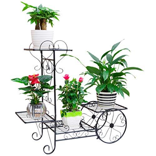 Tosbess Scaffale Porta-fiori Scaffale Espositore 4 Ripiani per fiori scaffalatura Ferro Fioriera Verticale a Scala da 76 x 26 x 69cm
