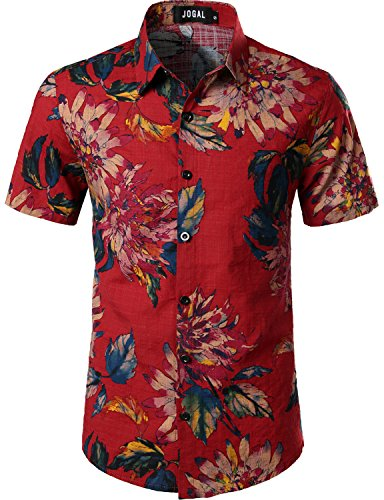 Men's Red Hawaiian Shirt , 18 Floral Designs Available S to 3XL