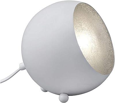 Petite lampe de table LED de style rétro en métal - Hauteur : 16 cm - Abat-jour rond blanc mat - Intérieur argenté.