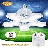 Lampada da Garage a LED, WZTO E27/E26 100W 10000LM Lampada da Negozio Deformabile con 5 Pannelli Regolabili Plafoniera LED per Garage,Magazzino,Officina,Cantina,Palestra,Cucina(Trasparente)