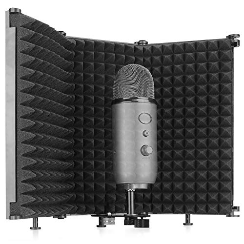 Studio Recording Mic Isolation Shield, Portable Foldable Microphone Reflection Filter with Microphone Shield Acoustic Foam by SUNMON(3 Panels)