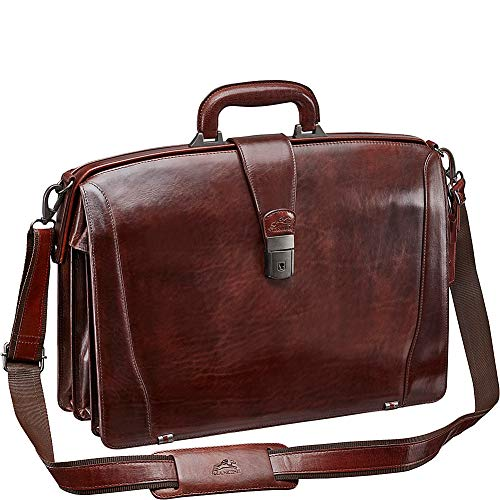 Mancini Leather Goods Vanizia Laptop Litigator Briefcase with RFID (Brown)