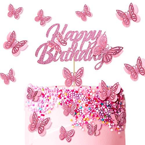 13 Piezas Topper de Tarta de Happy Birthday de Mariposa Palillos de Magdalena para Fiesta de Cumpleaños Baby Shower Aniversario Boda