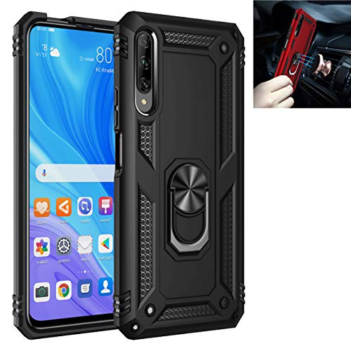 Huawei Y9s/Huawei P Smart Pro Case,360° Rotating Ring Kickstand Protective Case,Silicone Soft TPU Shockproof Protection Thin Cover Compatible with[Magnetic Car Mount] for Huawei Y9s Case (Black)