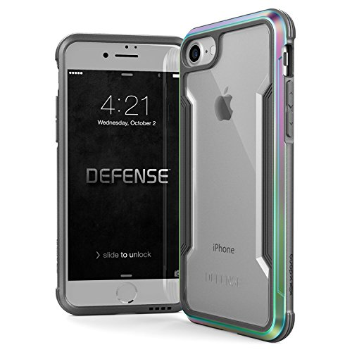 X-Doria iPhone SE/8/7 Case, Defense Shield - Military Grade Drop Tested, Anodized Aluminum, TPU, and Polycarbonate Protective Case for Apple iPhone SE/8/7 (Iridescent)